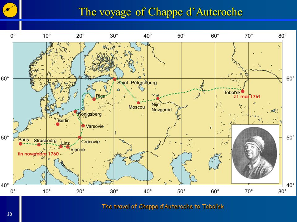 30 The voyage of Chappe d'Auteroche The travel of Chappe d'Auteroche to Tobol'sk