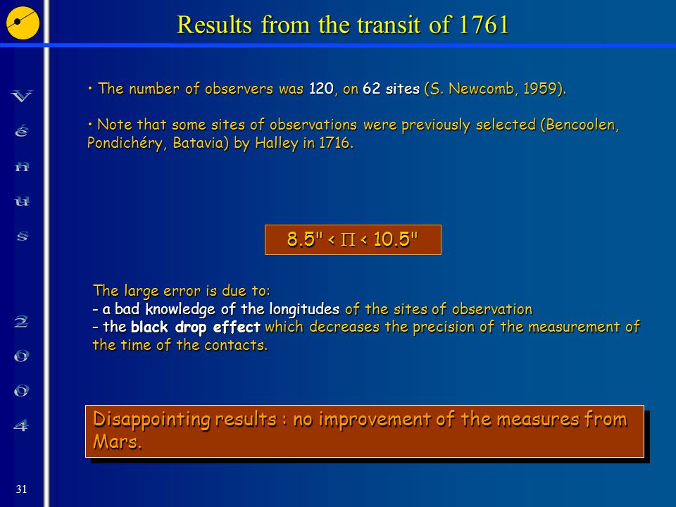 31 Results from the transit of 1761 The number of observers was 120, on 62 sites (S.