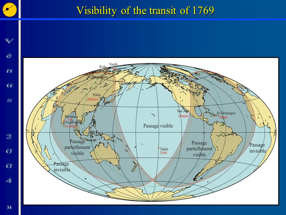 34 Visibility of the transit of 1769
