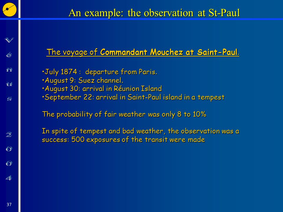 37 An example: the observation at St-Paul July 1874 : departure from Paris.July 1874 : departure from Paris.