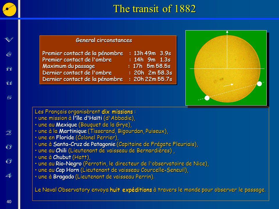 40 The transit of 1882 General circonstances General circonstances Premier contact de la pénombre : 13h 49m 3.9s Premier contact de l'ombre : 14h 9m 1