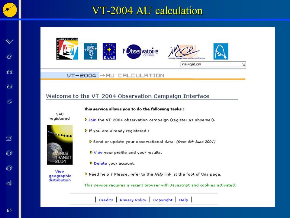 65 VT-2004 AU calculation