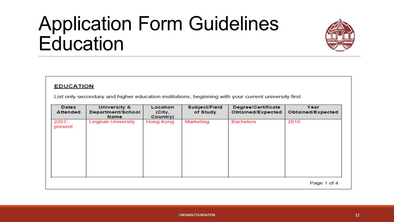 Application Form Guidelines Education LINGNAN FOUNDATION 12