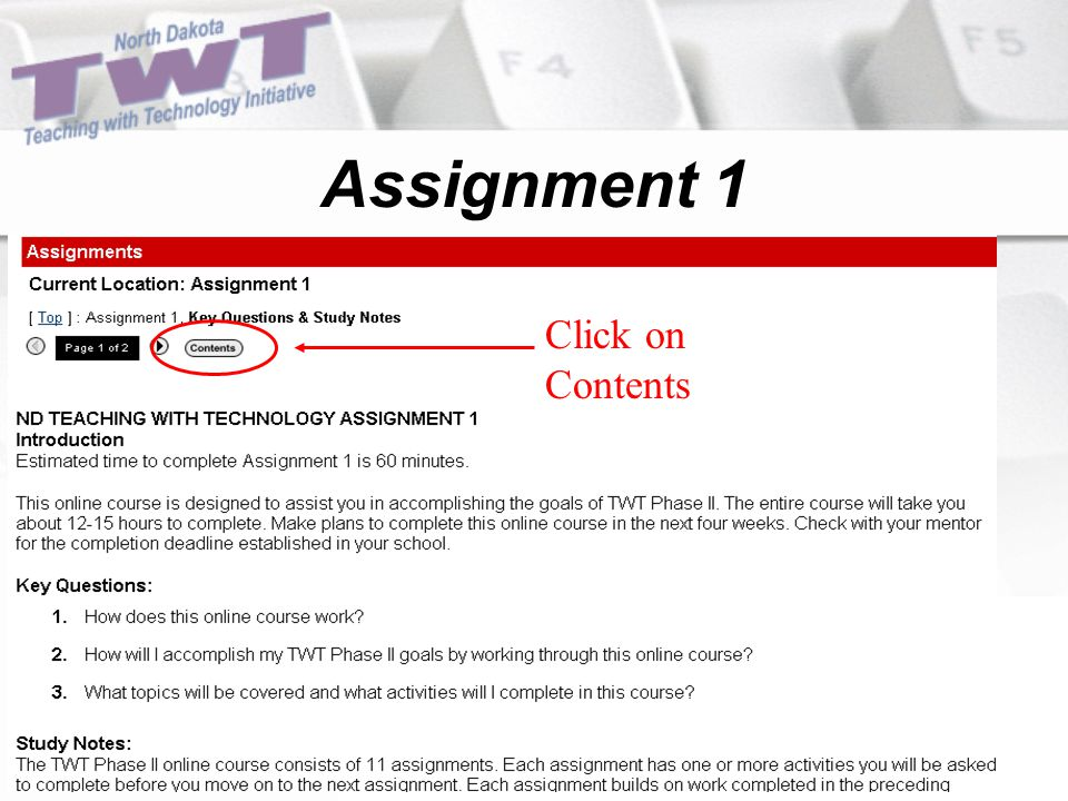Assignment 1 Click on Contents