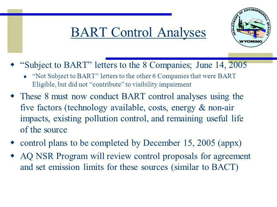 BART Control Analyses  Subject to BART letters to the 8 Companies; June 14, 2005 Not Subject to BART letters to the other 6 Companies that were BART Eligible, but did not contribute to visibility impairment  These 8 must now conduct BART control analyses using the five factors (technology available, costs, energy & non-air impacts, existing pollution control, and remaining useful life of the source  control plans to be completed by December 15, 2005 (appx)  AQ NSR Program will review control proposals for agreement and set emission limits for these sources (similar to BACT)
