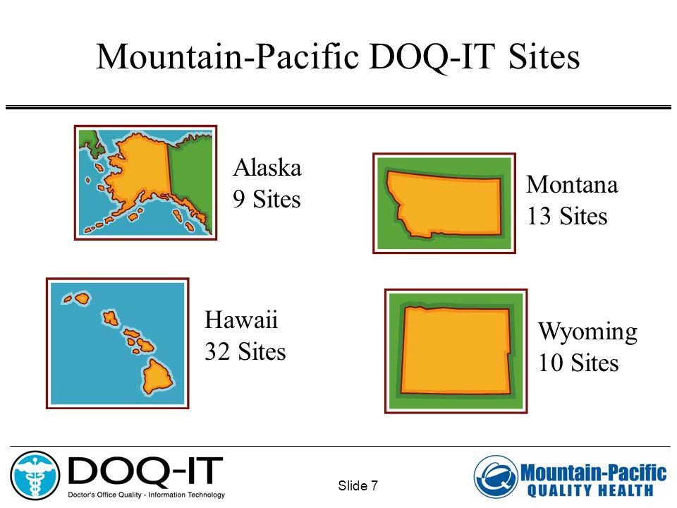 Slide 7 Mountain-Pacific DOQ-IT Sites Alaska 9 Sites Wyoming 10 Sites Montana 13 Sites Hawaii 32 Sites