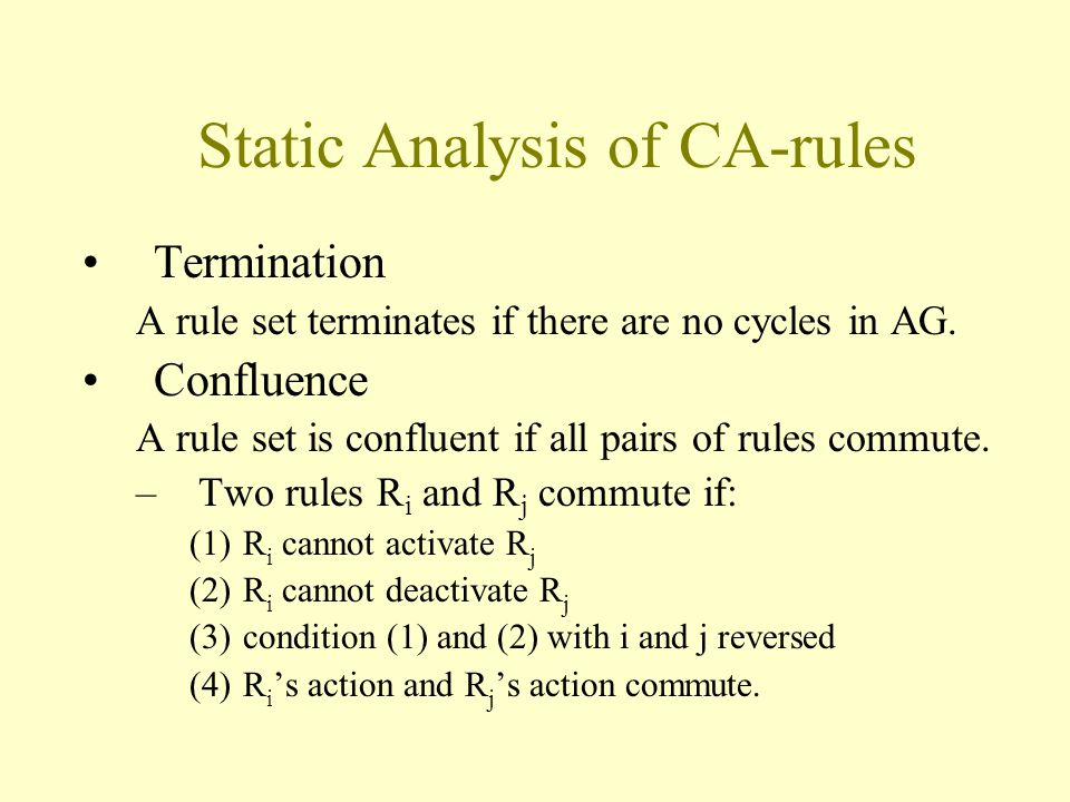 Static Analysis of CA-rules Termination A rule set terminates if there are no cycles in AG.