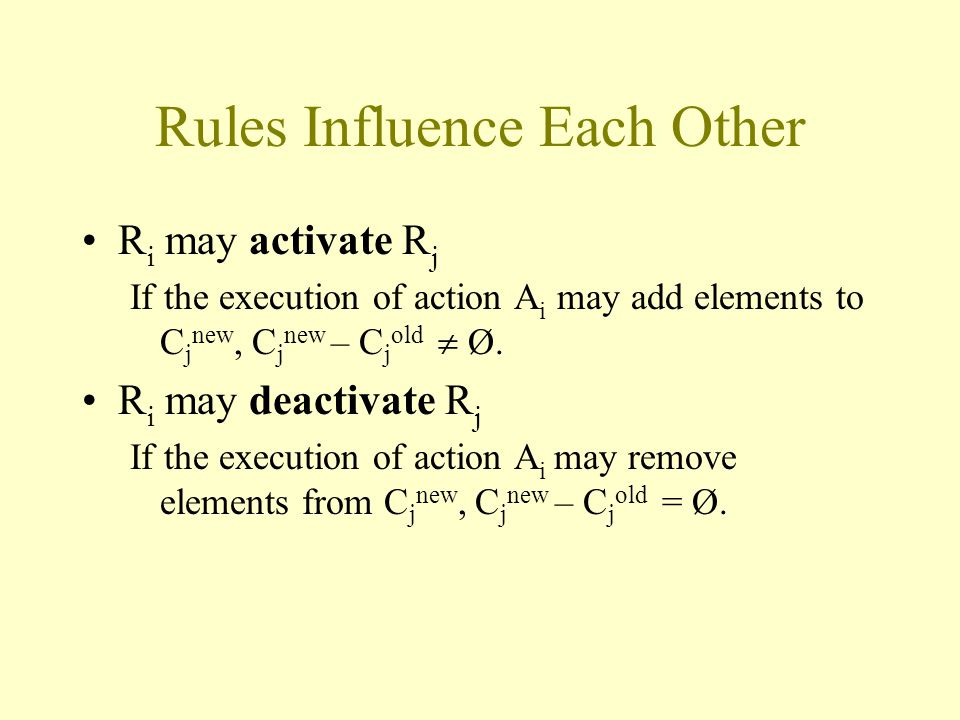 Rules Influence Each Other R i may activate R j If the execution of action A i may add elements to C j new, C j new – C j old  Ø.