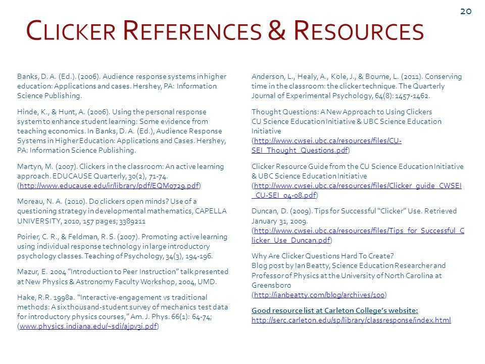C LICKER R EFERENCES & R ESOURCES 20 Banks, D. A.