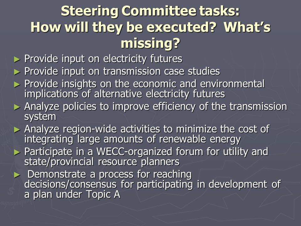 Steering Committee tasks: How will they be executed.