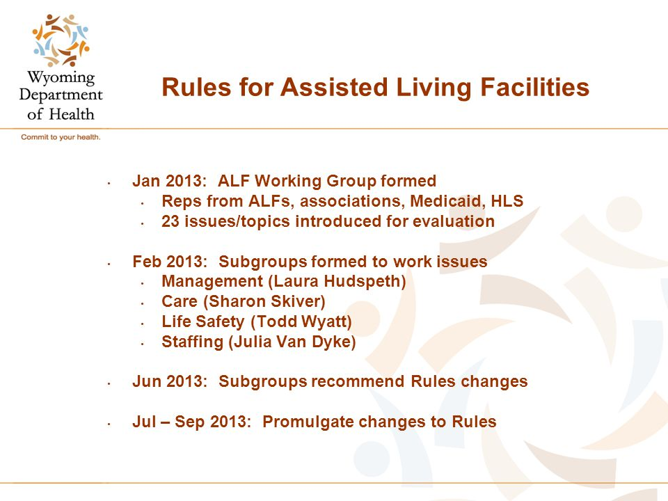 Rules for Assisted Living Facilities Jan 2013: ALF Working Group formed Reps from ALFs, associations, Medicaid, HLS 23 issues/topics introduced for ev