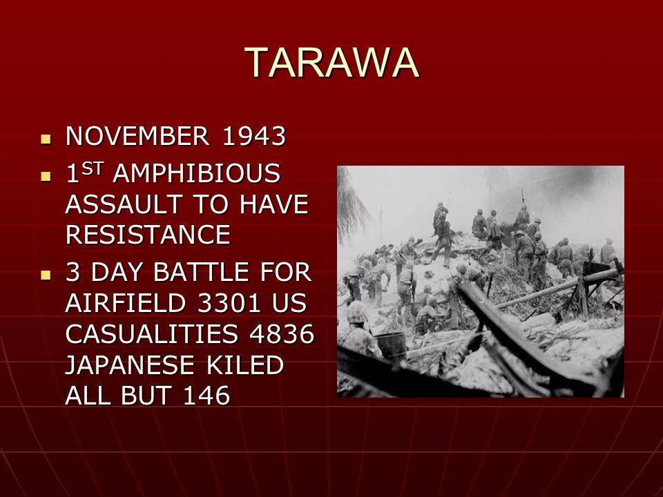 TARAWA NOVEMBER 1943 NOVEMBER 1943 1 ST AMPHIBIOUS ASSAULT TO HAVE RESISTANCE 1 ST AMPHIBIOUS ASSAULT TO HAVE RESISTANCE 3 DAY BATTLE FOR AIRFIELD 3301 US CASUALITIES 4836 JAPANESE KILED ALL BUT 146 3 DAY BATTLE FOR AIRFIELD 3301 US CASUALITIES 4836 JAPANESE KILED ALL BUT 146
