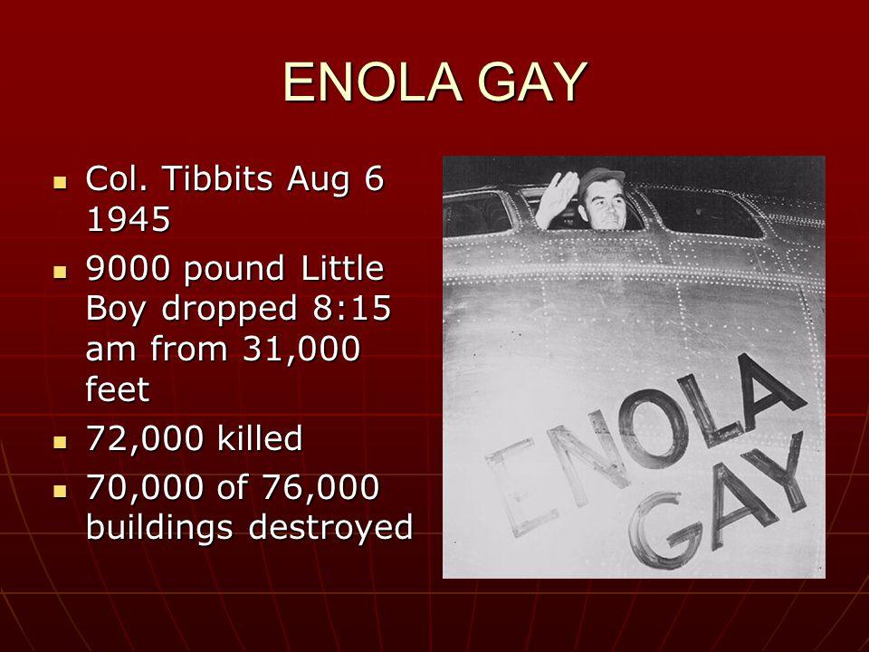 ENOLA GAY Col. Tibbits Aug 6 1945 Col.