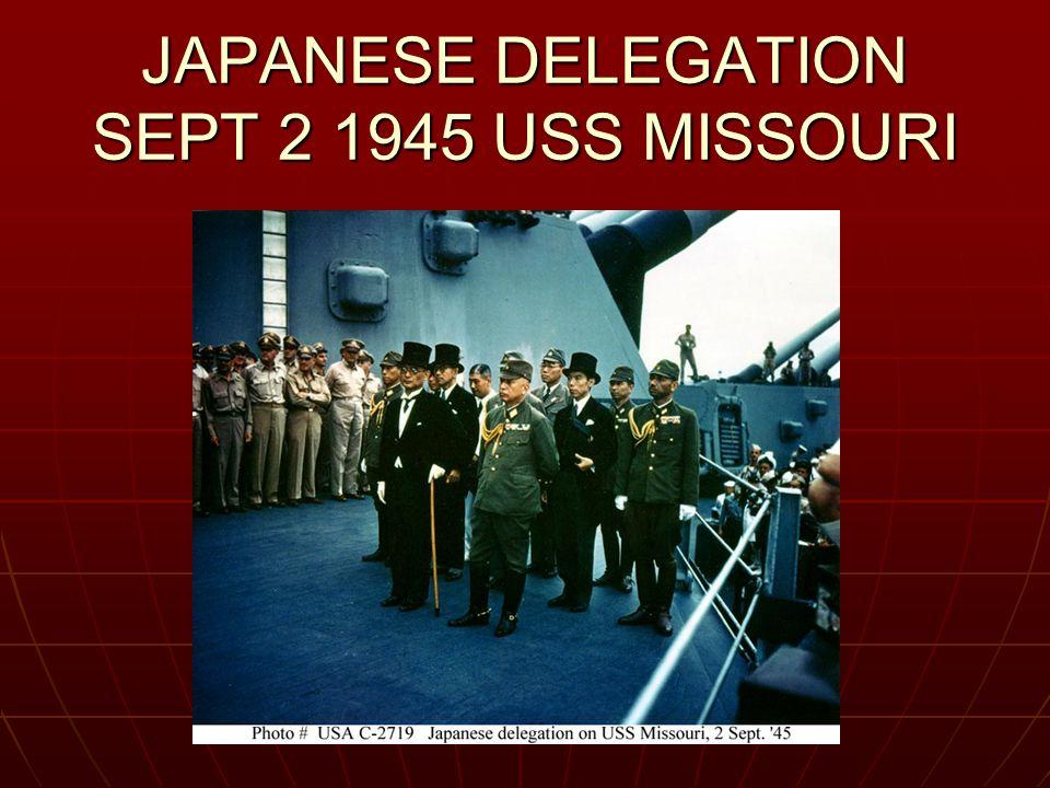 JAPANESE DELEGATION SEPT 2 1945 USS MISSOURI