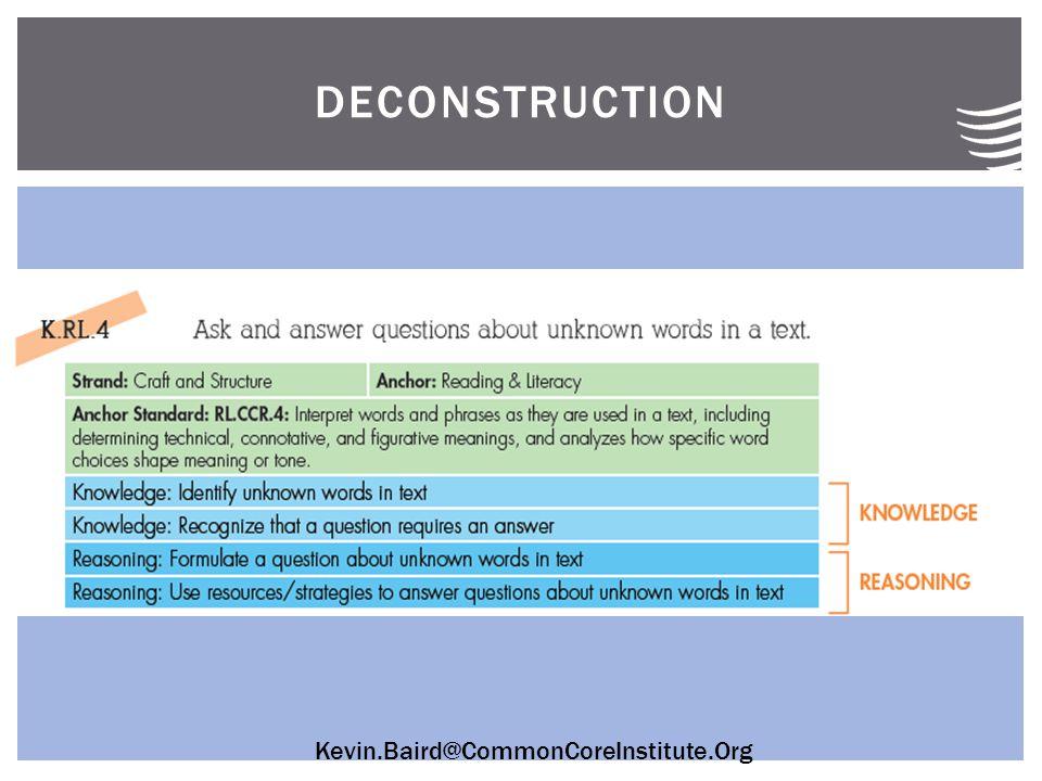 Kevin.Baird@CommonCoreInstitute.Org DECONSTRUCTION