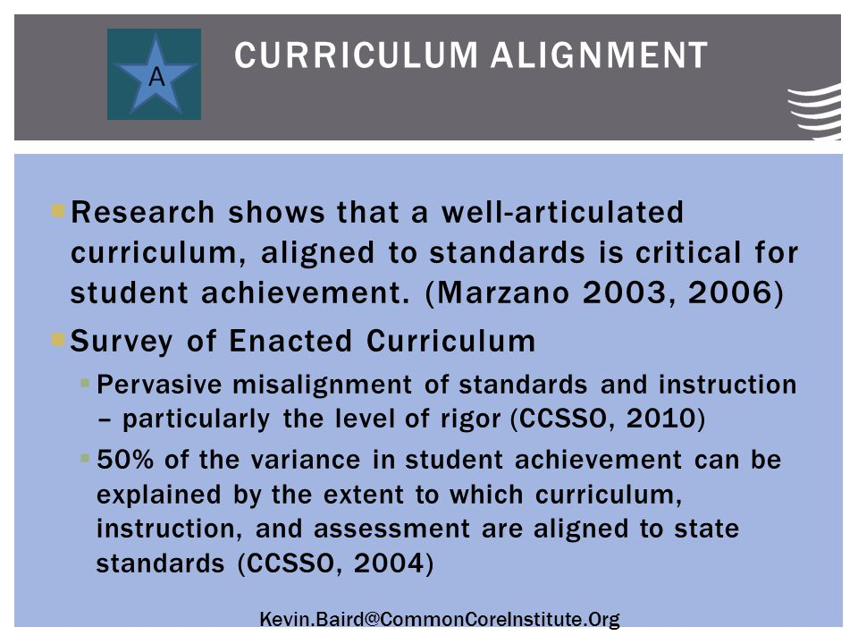 Kevin.Baird@CommonCoreInstitute.Org  Research shows that a well-articulated curriculum, aligned to standards is critical for student achievement.