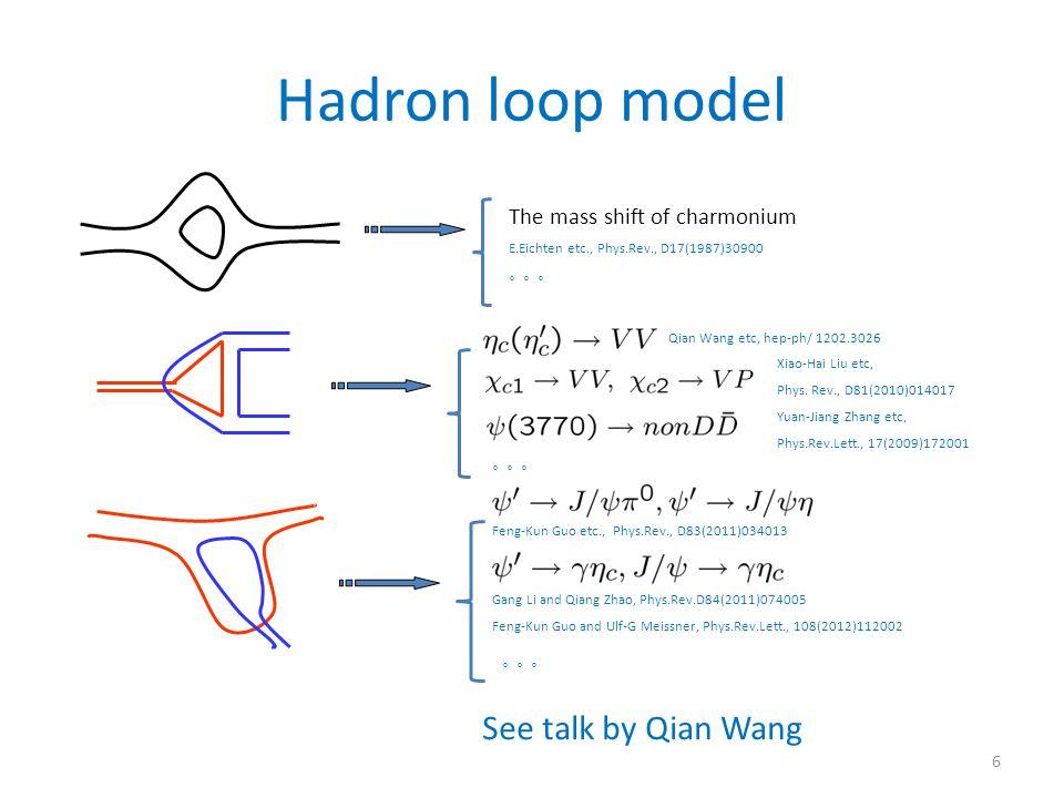 Hadron loop model The mass shift of charmonium E.Eichten etc., Phys.Rev., D17(1987)30900 。。。 Qian Wang etc, hep-ph/ 1202.3026 Xiao-Hai Liu etc, Phys.