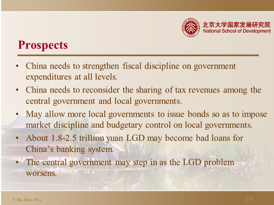 20 © Ho-Mou Wu Prospects China needs to strengthen fiscal discipline on government expenditures at all levels.