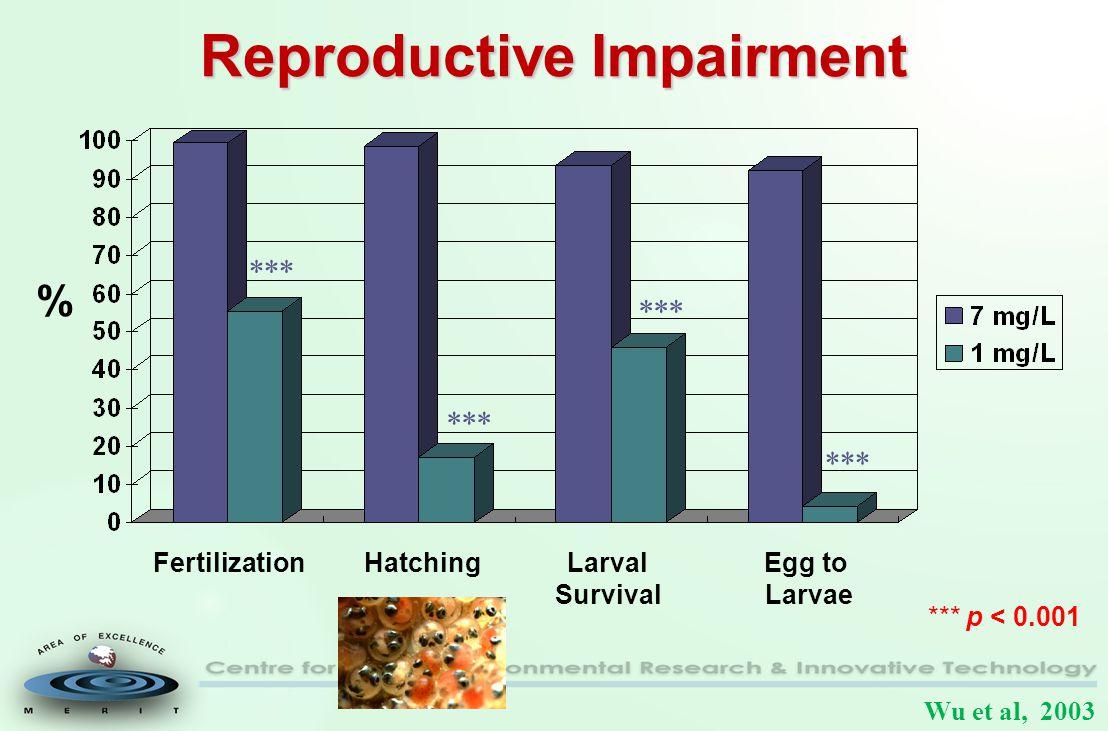 Reproductive Impairment FertilizationHatchingLarval Survival Egg to Larvae *** *** p < 0.001 % Wu et al, 2003