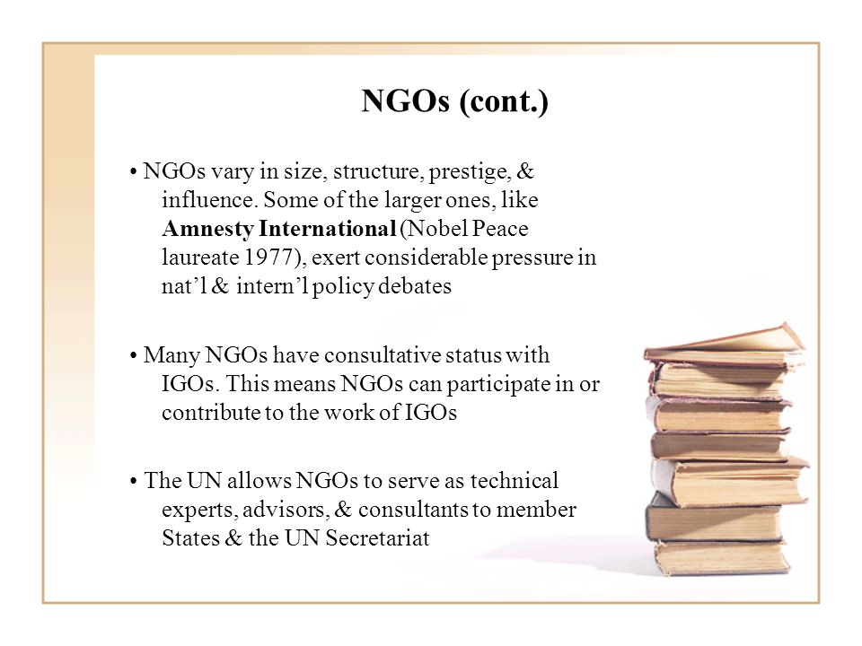 NGOs (cont.) NGOs vary in size, structure, prestige, & influence.