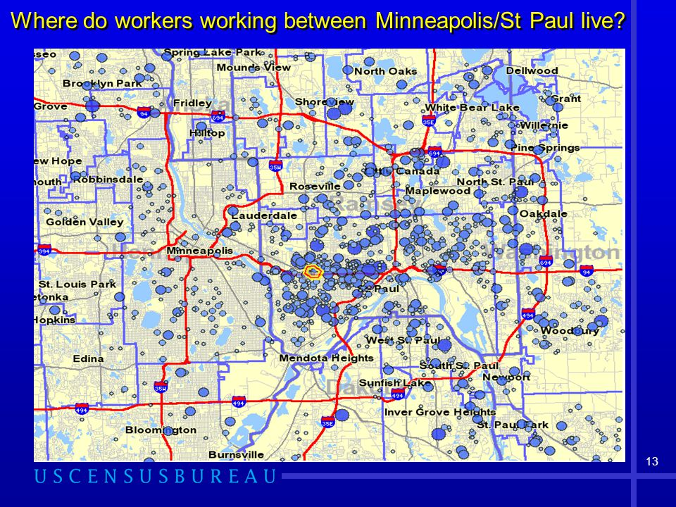 13 Where do workers working between Minneapolis/St Paul live