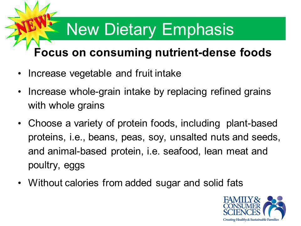 New Dietary Emphasis Focus on consuming nutrient-dense foods Increase vegetable and fruit intake Increase whole-grain intake by replacing refined grai
