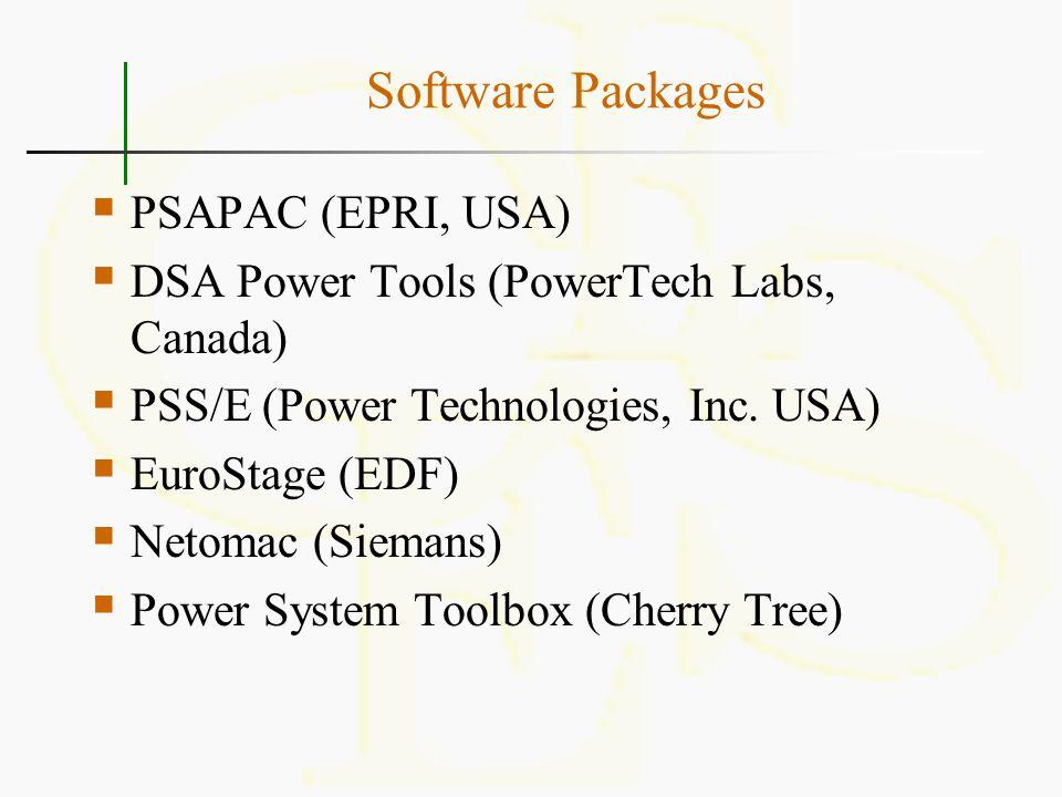 Software Packages  PSAPAC (EPRI, USA)  DSA Power Tools (PowerTech Labs, Canada)  PSS/E (Power Technologies, Inc. USA)  EuroStage (EDF)  Netomac (