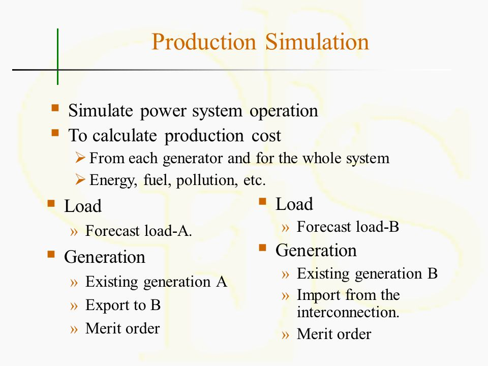 Production Simulation  Load »Forecast load-A.  Generation »Existing generation A »Export to B »Merit order  Load »Forecast load-B  Generation »Exi