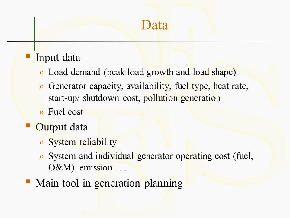 Multi-area Production Costing  Two approaches »Simultaneous simulation »External input  External input »Determine transfer capability between areas –Rated and actual –Transmission planning tool »Estimate transfer schedule »Model import as generator and export as load in production costing –Deterministic or probabilistic modeling