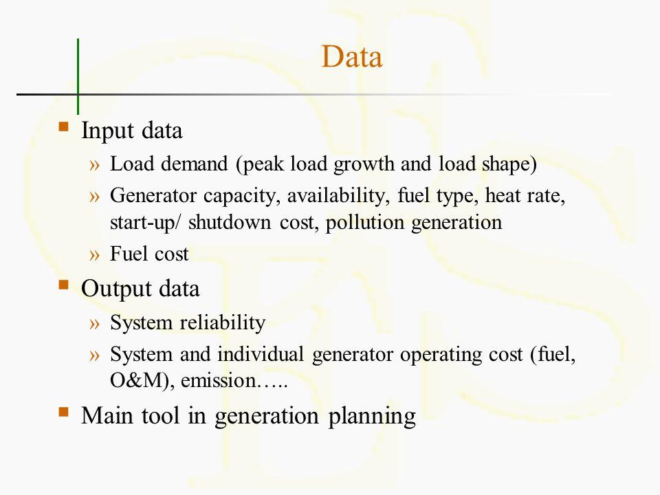 Data  Input data »Load demand (peak load growth and load shape) »Generator capacity, availability, fuel type, heat rate, start-up/ shutdown cost, pol