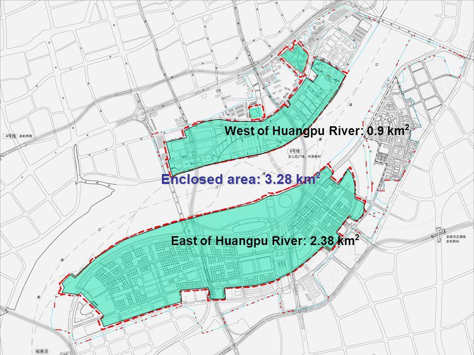 West of Huangpu River: 0.9 km 2 East of Huangpu River: 2.38 km 2 Enclosed area: 3.28 km 2