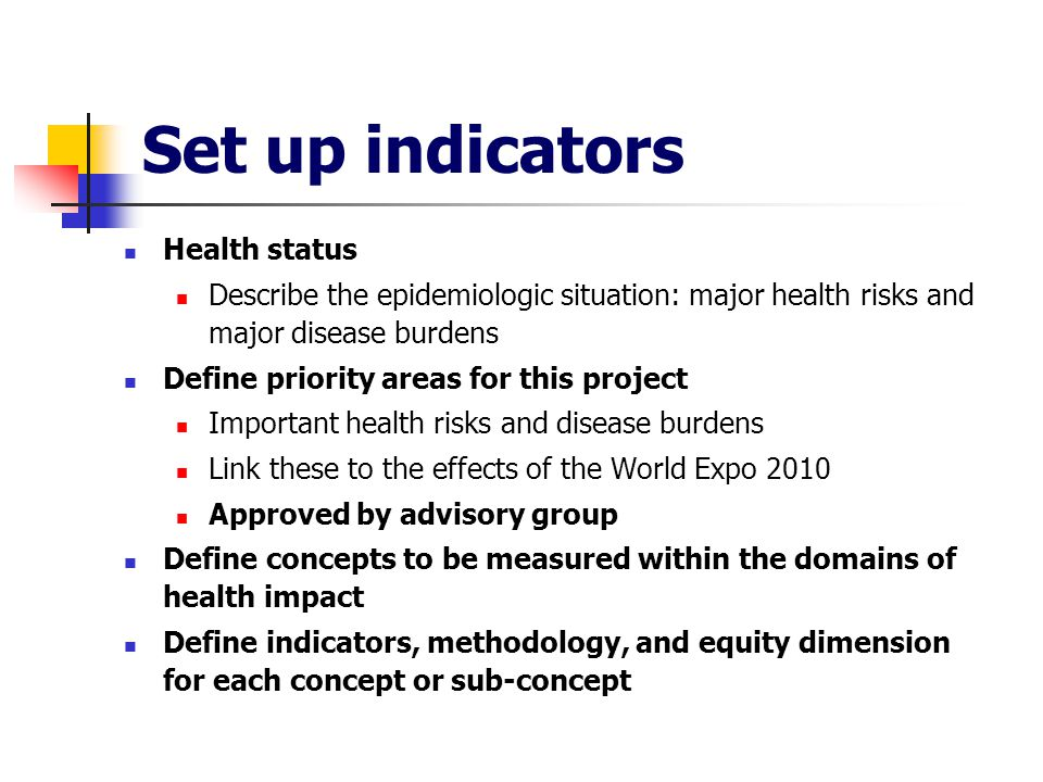 Set up indicators Health status Describe the epidemiologic situation: major health risks and major disease burdens Define priority areas for this project Important health risks and disease burdens Link these to the effects of the World Expo 2010 Approved by advisory group Define concepts to be measured within the domains of health impact Define indicators, methodology, and equity dimension for each concept or sub-concept