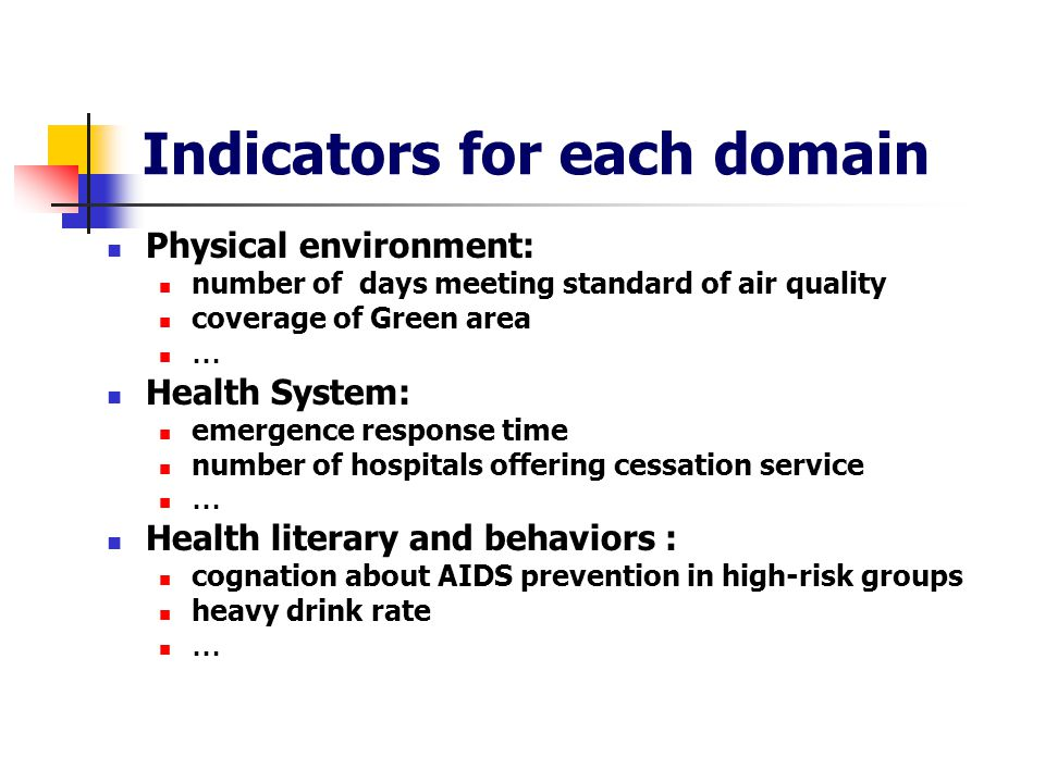 Indicators for each domain Physical environment: number of days meeting standard of air quality coverage of Green area … Health System: emergence response time number of hospitals offering cessation service … Health literary and behaviors : cognation about AIDS prevention in high-risk groups heavy drink rate …