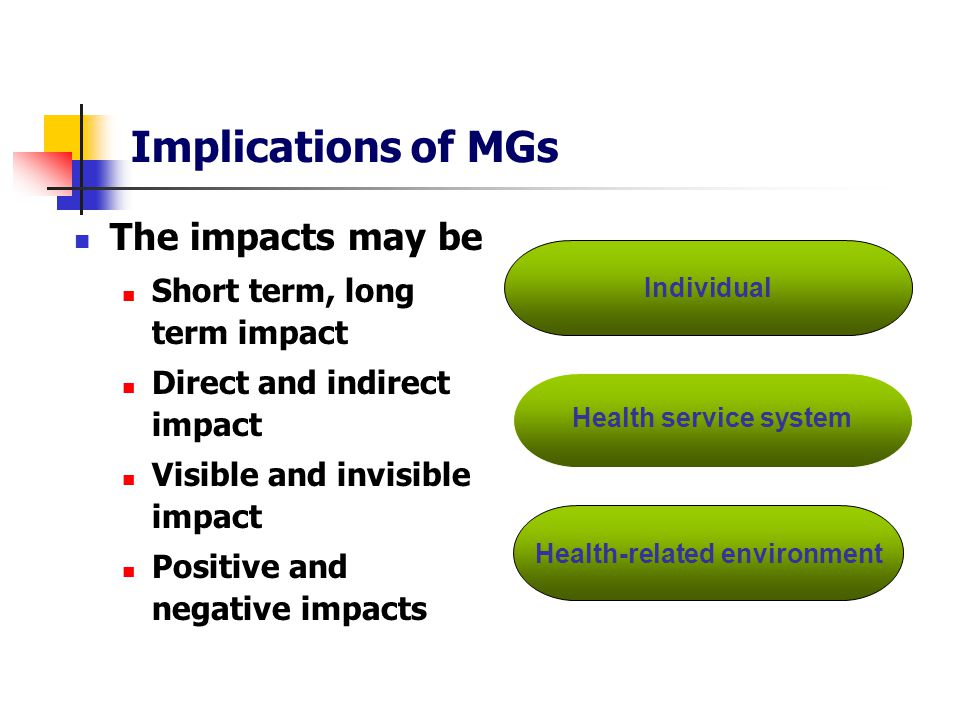 Implications of MGs The impacts may be Short term, long term impact Direct and indirect impact Visible and invisible impact Positive and negative impacts Individual Health service system Health-related environment