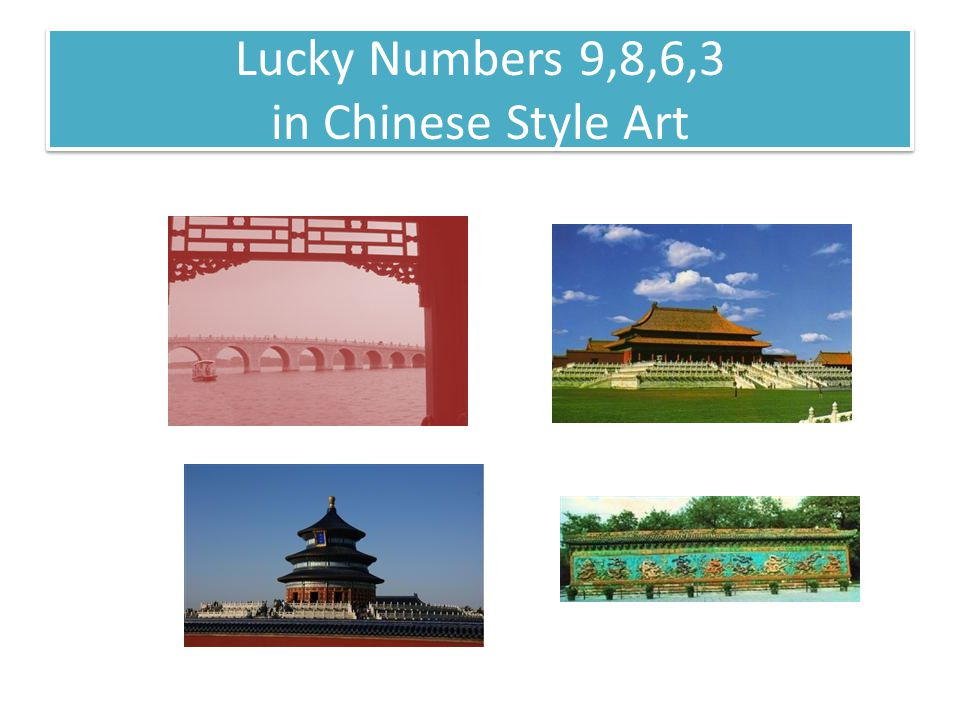 Lucky Numbers 9,8,6,3 in Chinese Style Art