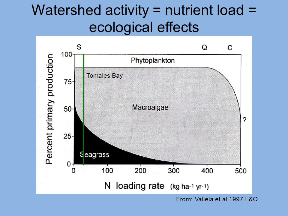 Watershed activity = nutrient load = ecological effects From: Valiela et al 1997 L&O Tomales Bay