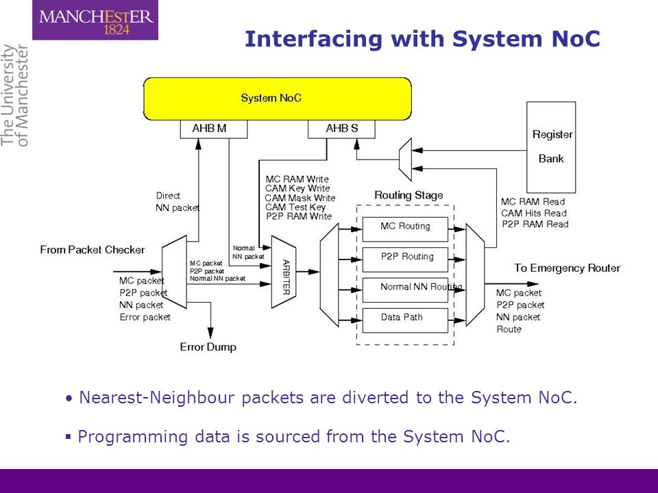 Interfacing with System NoC Nearest-Neighbour packets are diverted to the System NoC.  Programming data is sourced from the System NoC.
