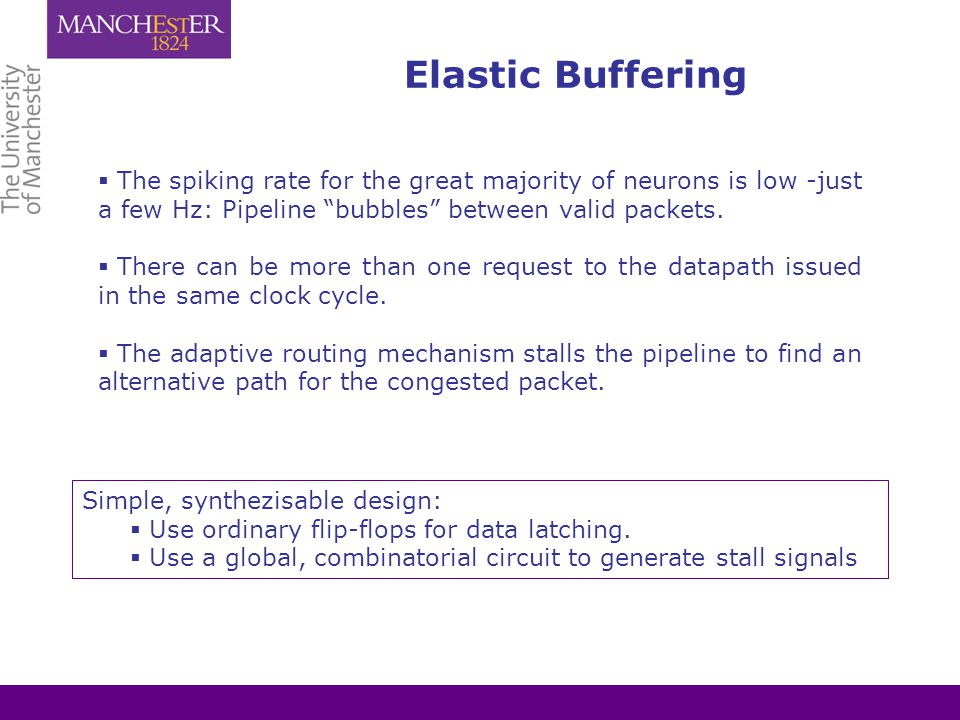 Elastic Buffering  The spiking rate for the great majority of neurons is low -just a few Hz: Pipeline bubbles between valid packets.