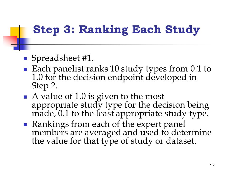 17 Step 3: Ranking Each Study Spreadsheet #1. Each panelist ranks 10 study types from 0.1 to 1.0 for the decision endpoint developed in Step 2. A valu