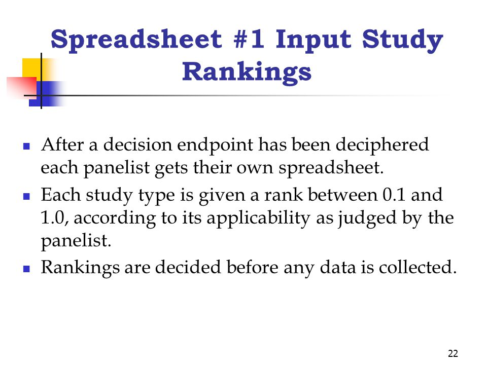 22 Spreadsheet #1 Input Study Rankings After a decision endpoint has been deciphered each panelist gets their own spreadsheet. Each study type is give
