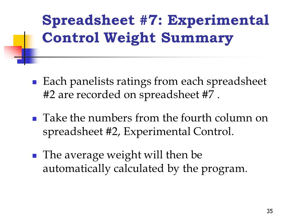 35 Spreadsheet #7: Experimental Control Weight Summary Each panelists ratings from each spreadsheet #2 are recorded on spreadsheet #7. Take the number