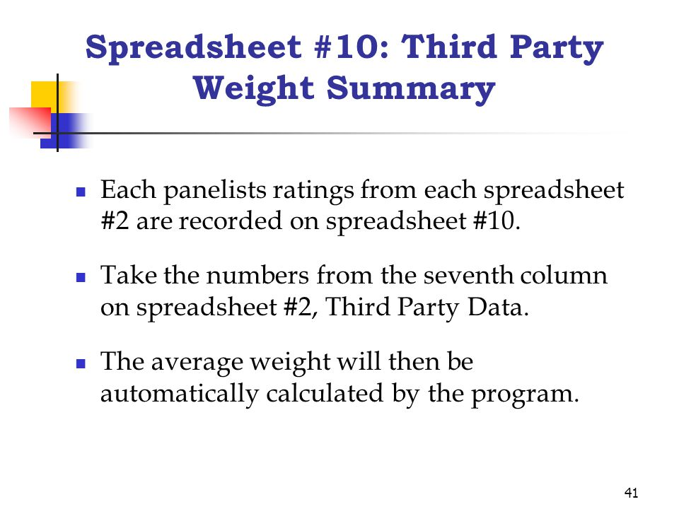 41 Spreadsheet #10: Third Party Weight Summary Each panelists ratings from each spreadsheet #2 are recorded on spreadsheet #10.