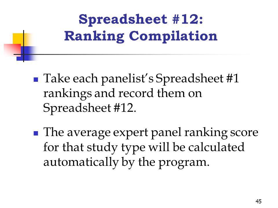 45 Spreadsheet #12: Ranking Compilation Take each panelist's Spreadsheet #1 rankings and record them on Spreadsheet #12.