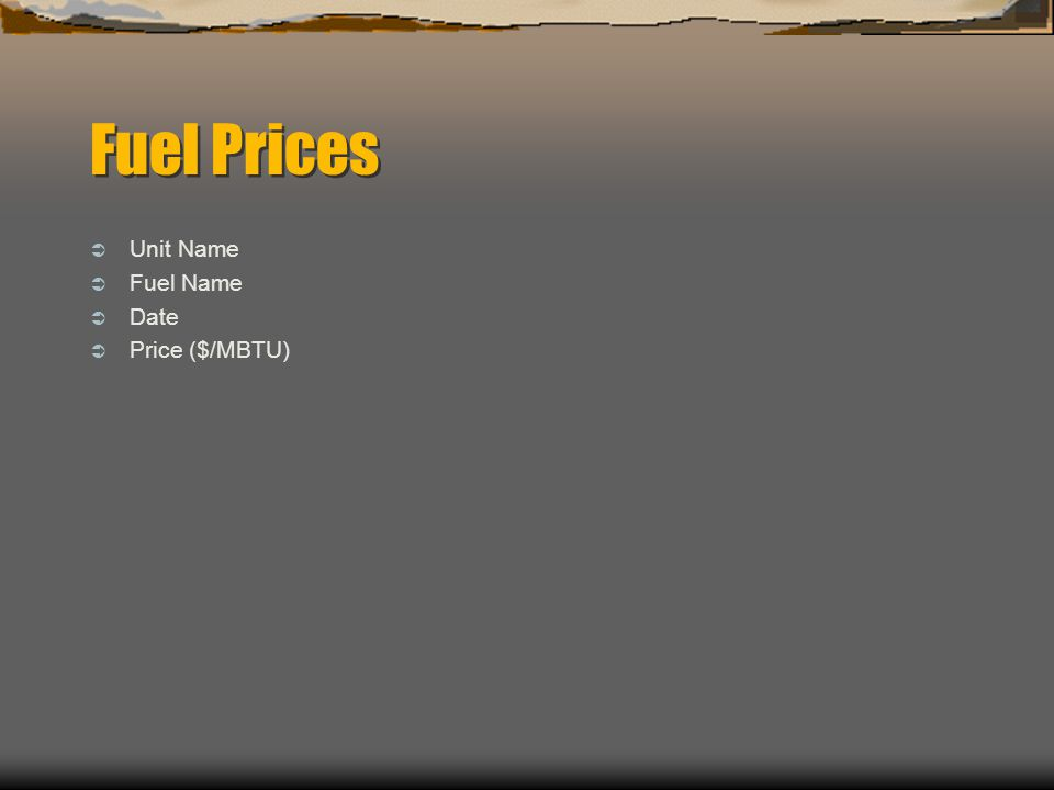 Fuel Prices  Unit Name  Fuel Name  Date  Price ($/MBTU)
