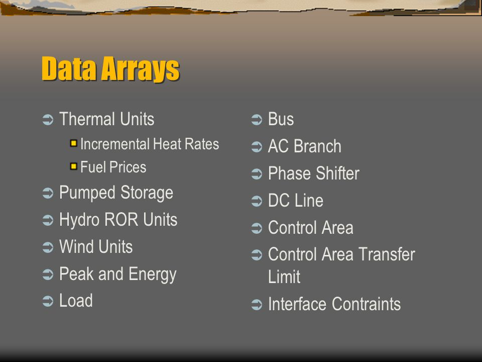 Data Arrays  Thermal Units Incremental Heat Rates Fuel Prices  Pumped Storage  Hydro ROR Units  Wind Units  Peak and Energy  Load  Bus  AC Branch  Phase Shifter  DC Line  Control Area  Control Area Transfer Limit  Interface Contraints