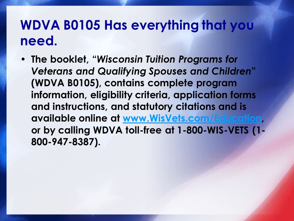 WDVA Contact Information Wisconsin Department of Veterans Affairs 201 W.