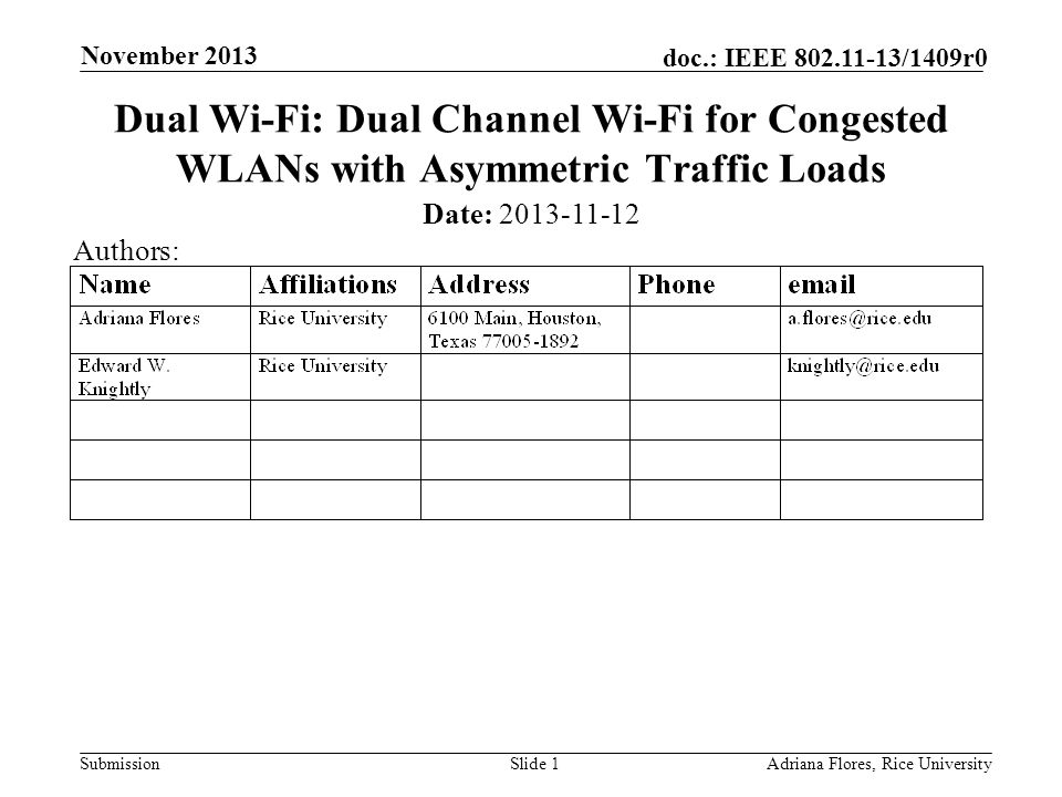 Submission doc.: IEEE 802.11-13/1409r0 November 2013 Adriana Flores, Rice UniversitySlide 1 Dual Wi-Fi: Dual Channel Wi-Fi for Congested WLANs with Asymmetric Traffic Loads Date: 2013-11-12 Authors:
