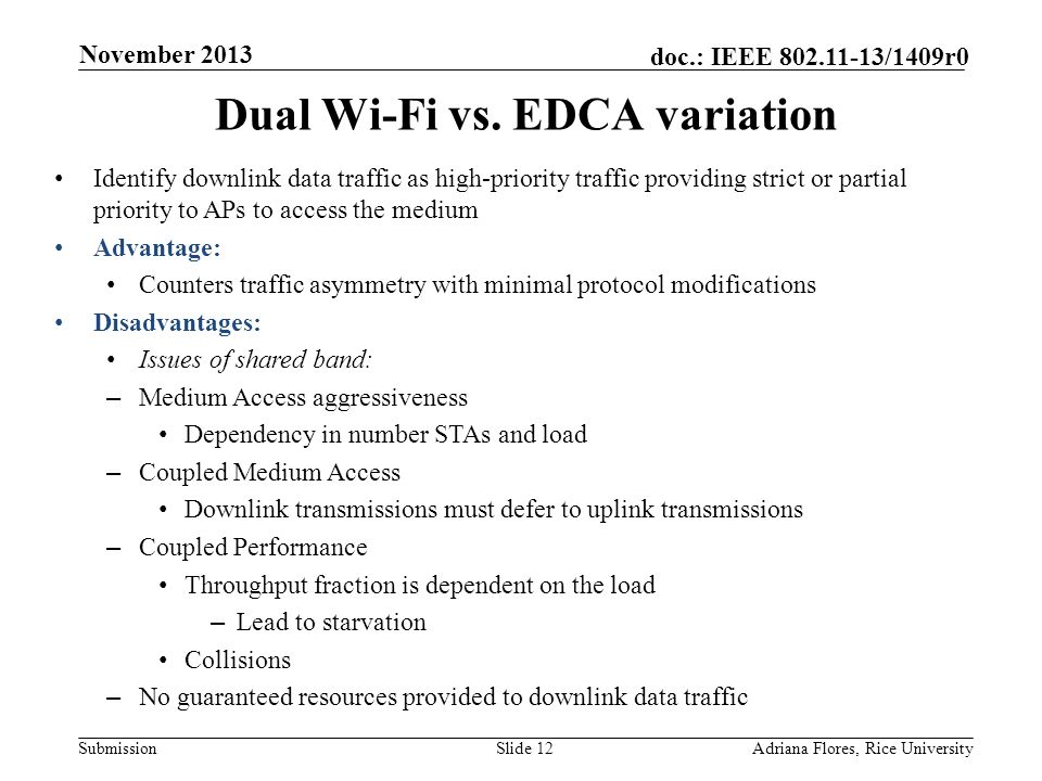 Submission doc.: IEEE 802.11-13/1409r0 Dual Wi-Fi vs.