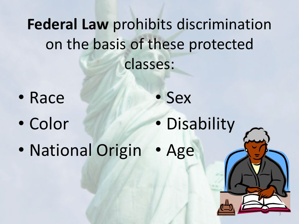 Required Non-Discrimination Statement Language The U.S Department of Agriculture prohibits discrimination against its customers, employees, and applicants for employment on the bases of race, color, national origin, age, disability, sex, gender identity, religion, reprisal, and where applicable, political beliefs, marital status, familial or parental status, sexual orientation, or all or part of an individual's income is derived from any public assistance program, or protected genetic information in employment or in any program or activity conducted or funded by the Department.