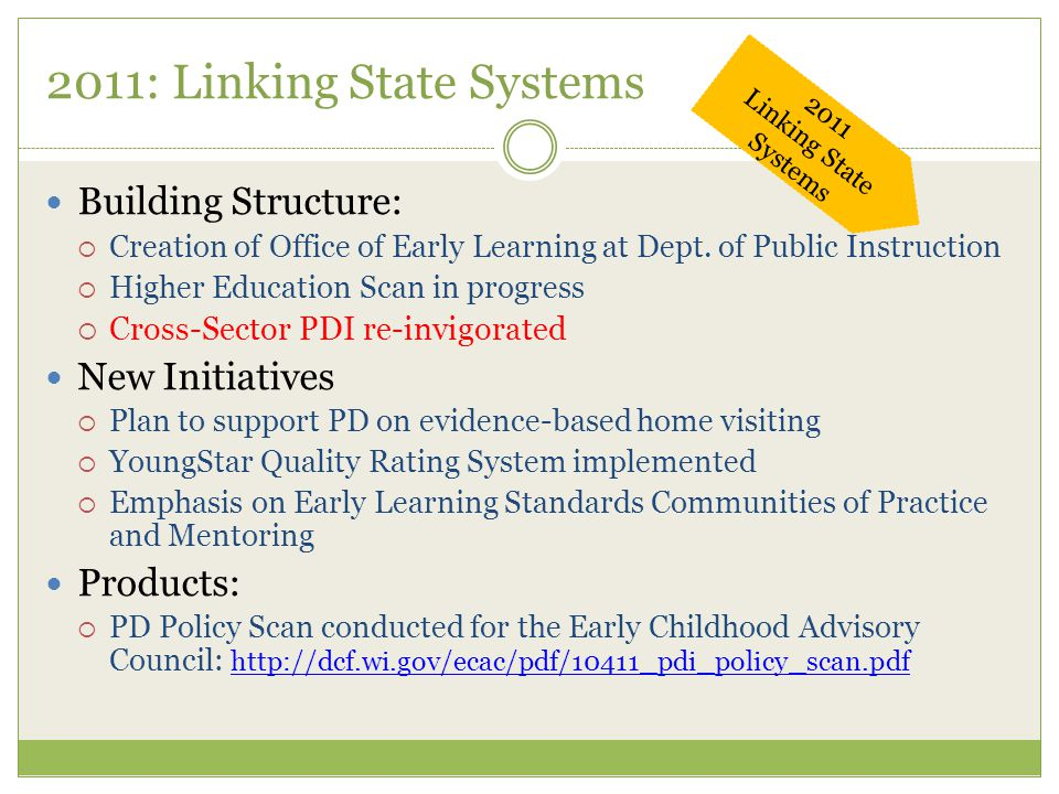 2011: Linking State Systems Building Structure:  Creation of Office of Early Learning at Dept. of Public Instruction  Higher Education Scan in progr